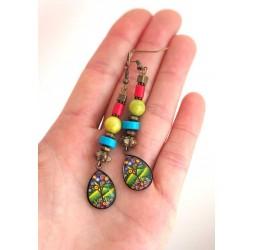Pendientes, colgantes, gotas cabujón, verde y azul, árbol de la vida, la artesanía de bronce