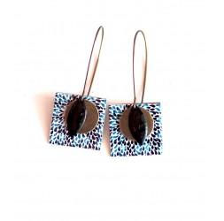 Ohrringe, Anhänger, extravagant, schwarz und blau Tropfen, Kunsthandwerk