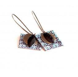 Boucles d'oreilles, pendantes, fantaisie,  gouttes noir et bleu, artisanat