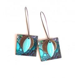 Pendientes, colgantes, de fantasía pintura de los colores azul burbujas, artesanía