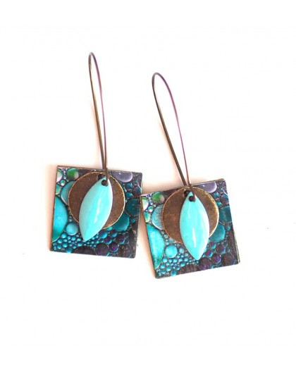 Earrings, pendant, fancy paint colors blue bubbles, crafts