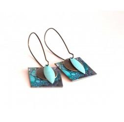 Orecchini, pendente, colori della vernice di fantasia blu bolle, artigianato
