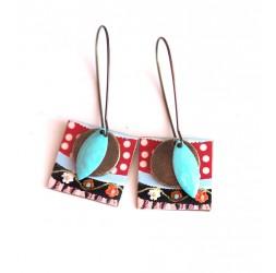 Boucles d'oreilles, pendantes, fantaisie,  petits pois (polka dots) 60's, artisanat