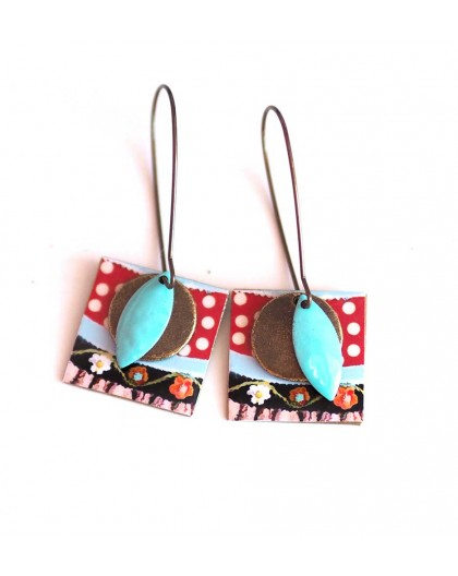 Earrings, pendant, fancy, peas (polka dots) 60's, crafts