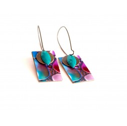 Earrings, pendant, fancy, purple and turquoise abstract, crafts