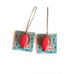 Orecchini, pendenti, fantasia, mente Marocco, blu e rosso, artigianato
