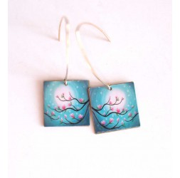 Earrings, pendant, fancy, Magnolias pink and blue, crafts