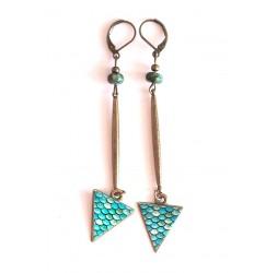 Pendientes, colgante largo, turquesa africana, azul, bronce, artesanías