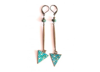 Earrings, long pendant, African turquoise, blue, bronze, crafts