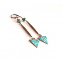 Boucles d'oreilles, longs pendants, turquoise africaine, bleu, bronze, artisanat