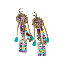 Earrings, pendant, Bohemian, gypsy, yellow blue purple flerus, turquoise, bronze