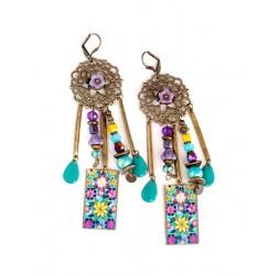 Orecchini, pendente, Boemia, zingara, giallo blu flerus viola, turchese, bronzo