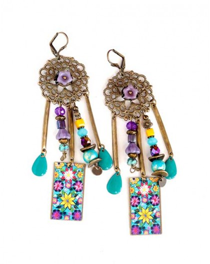 Boucles d'oreilles, pendantes, bohême, gypsy, flerus violet jaune bleu, turquoise, bronze