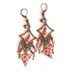 Earrings, pendant, Bohemian, gypsy, orange and red tones, turquoise, bronze