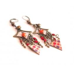 Boucles d'oreilles, pendantes, bohême, gypsy, tons orange et rouge, turquoise, bronze