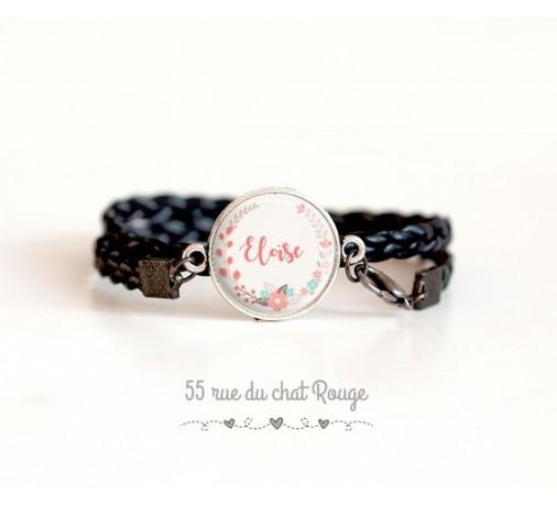bracelet personnalisable prénom, double tour noir