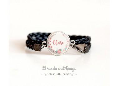 Black cuff bracelet, customizable first name cabochon