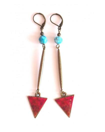 Boucles d'oreilles, longs pendants, apatite, rouge bleu, artisanat