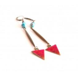 Orecchini, pendenti lungo, apatite, blu rosso, artigianato