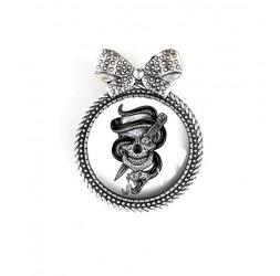 Broche cabochon, Tête de mort, esprit gothique, noir et blanc, argentée