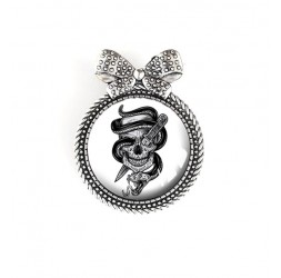 Pin cap, skull, gothic spirit, black and white, silver