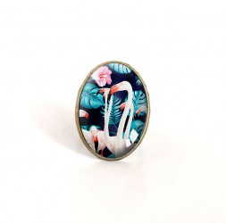 anillo oval cabujón, flamenco, tropical, turquesa y rosa, bronce
