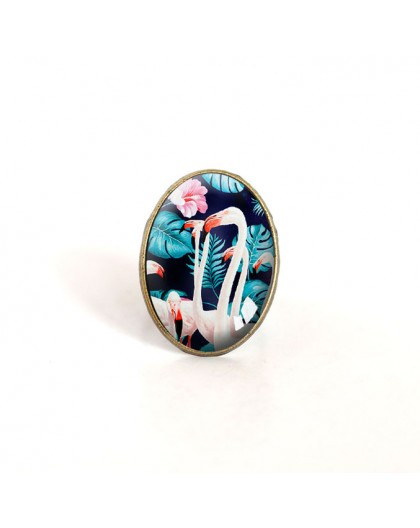 oval cabochon ring, flamingo, tropical, turquoise and pink, bronze