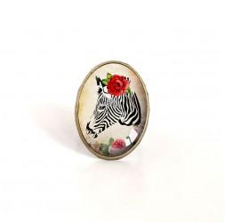 cabujón anillo ovalado, la cebra con la rosa roja, estilo retro, bronce