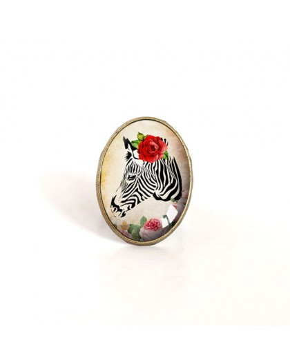 oval cabochon ring, zebra with red rose, retro style, bronze