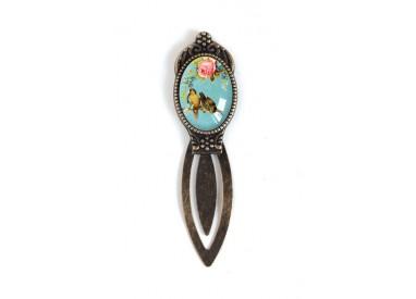 Bookmark cabochon, swallows, retro, blue, bronze