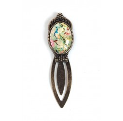 Bookmark cabochon, peacock, retro, shabby chic, bronze