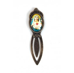Bookmark cabochon, Virgin Mary, retro style, bronze