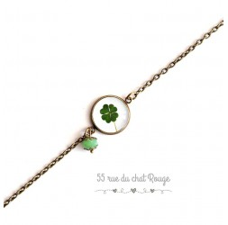 Armband feine Kette, Cabochon, Klee, Glücksbringer, grün weiß, bronze