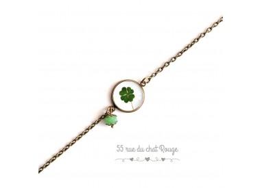 Bracelet fine chain, cabochon, clover, lucky charm, green white, bronze