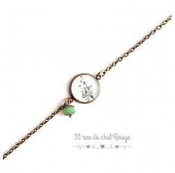 Bracciale a catena fine, cabochon, piccola pianta verde, bianco verde, bronzo