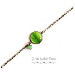 Armband feine Kette, Cabochon, grünes Blatt, Natur, Bronze