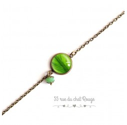Bracelet fine chain, cabochon, green leaf, nature, bronze