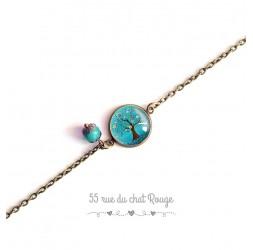 Armband feine Kette, Cabochon, Baum des Lebens, türkis, natur, bronze