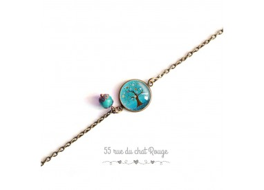 Bracelet fine chain, cabochon, tree of life, turquoise, nature, bronze
