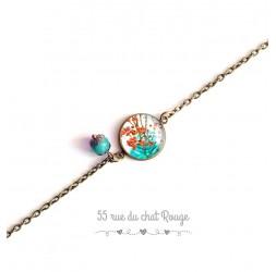 Bracelet chaîne fine, cabochon, printanier, orange et turquoise, nature, bronze
