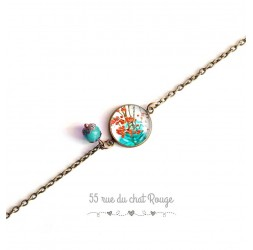 Bracelet fine chain, cabochon, spring, orange and turquoise, nature, bronze
