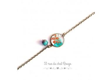 Bracelet fine chain, cabochon, spring, orange and turquoise, nature, bronze