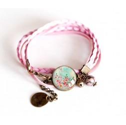 Schnur-Armband Rose Cabochon pastellblau und rosa Blüten, Bronze
