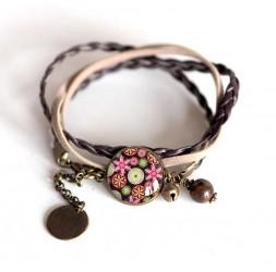 Bracelet cordon Rose, cabochon fleurs bleu et rose pastel, bronze