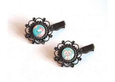 2 Hair clip, cabochon Unicorn, kitten, pastel colors, blue pink, bronze
