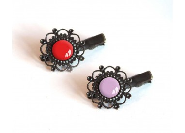 2 Hair clip, cabochon, red and purple, crocodile clip, bronze
