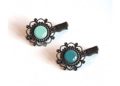 2 Hair clip, cabochon, blues, teal, blue pastel, crocodile clip, bronze