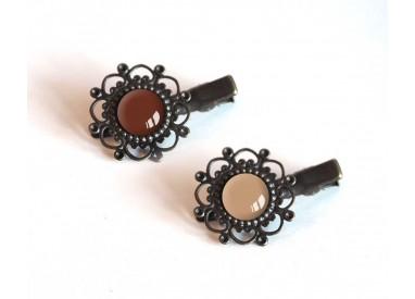 2 Hair clip, cabochon, brown tones, brown and beige, crocodile clip, bronze