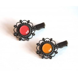 2 Hair clip, cabochon, red tones, red and orange, bronze
