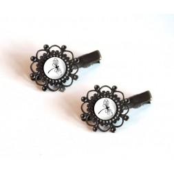 2 Barrettes à cheveux, cabochon, Libellule noir et blanc, bronze